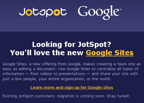 JotSpot to Google Sites